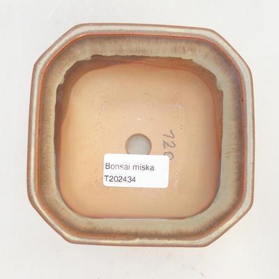 Bonsai bowl 11 x 11 x 6.5 cm, brown-beige color - 3