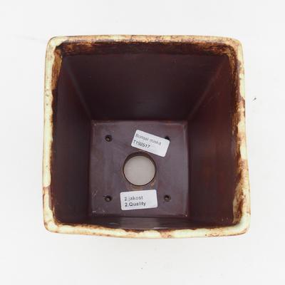 Ceramic bonsai bowl 2nd quality - 15 x 15 x 19 cm, brown-yellow color - 3