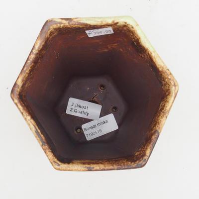 Ceramic bonsai bowl 2nd quality - 13 x 11 x 17 cm, brown-yellow color - 3