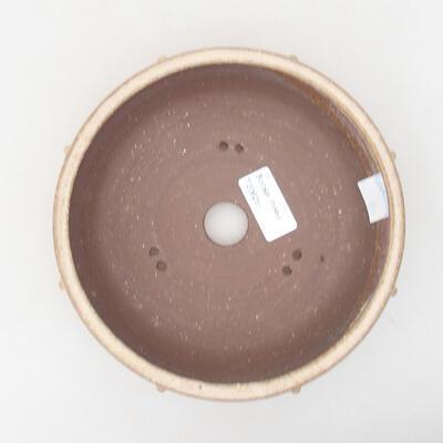 Ceramic bonsai bowl 17.5 x 17.5 x 5.5 cm, beige color - 3
