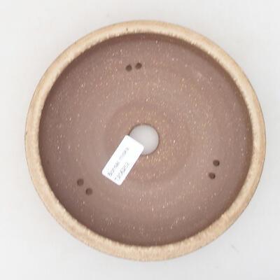 Ceramic bonsai bowl 18 x 18 x 4.5 cm, beige color - 3