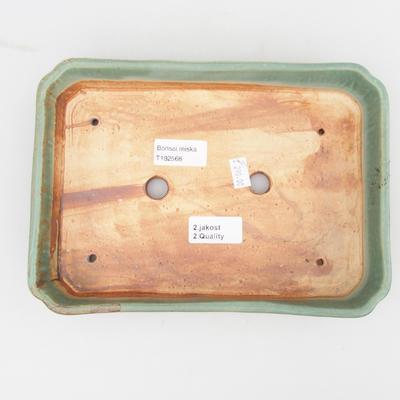 Ceramic bonsai bowl 2nd quality - 23,5 x 17 x 4,5 cm, brown-green color - 3
