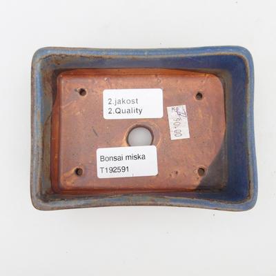 Ceramic bonsai bowl 2nd quality - 12 x 9 x 3,5 cm, brown-blue color - 3