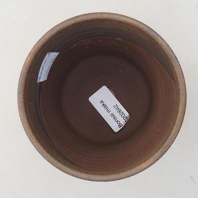 Ceramic bonsai bowl 10 x 10 x 9.5 cm, brown color - 3