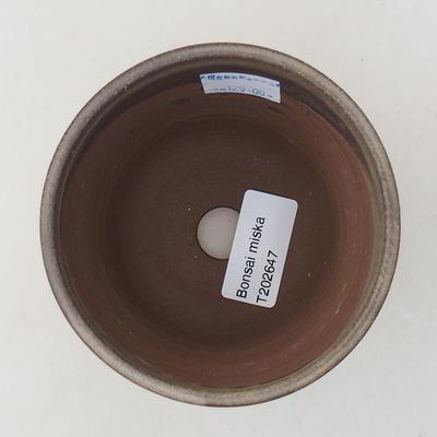 Ceramic bonsai bowl 9.5 x 9.5 x 8.5 cm, brown color - 3