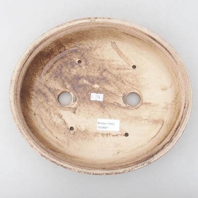 Ceramic bonsai bowl 28 x 25 x 6 cm, color brown - 3