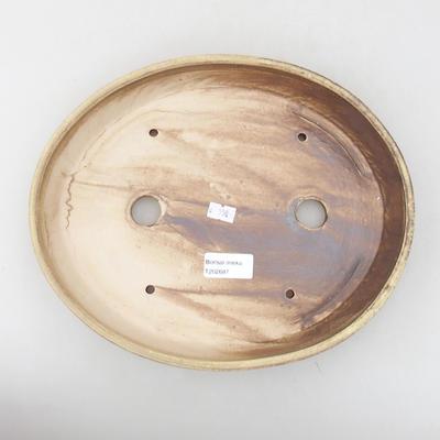 Ceramic bonsai bowl 28 x 24 x 4.5 cm, brown color - 3