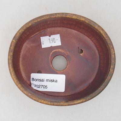 Ceramic bonsai bowl 10.5 x 9 x 4.5 cm, brown color - 3
