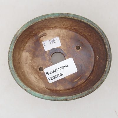 Ceramic bonsai bowl 10.5 x 9 x 4.5 cm, color green - 3
