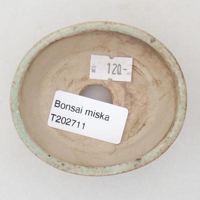 Ceramic bonsai bowl 7.5 x 6.5 x 3.5 cm, color green - 3