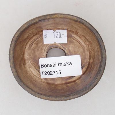 Ceramic bonsai bowl 7.5 x 6.5 x 3.5 cm, brown color - 3