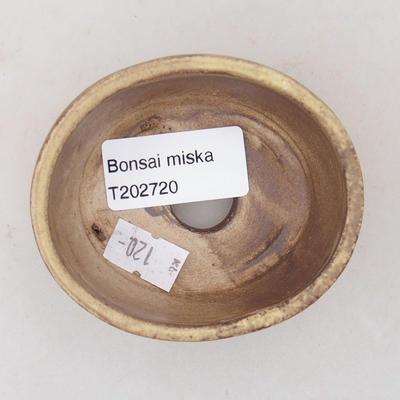 Ceramic bonsai bowl 7.5 x 6.5 x 3.5 cm, yellow color - 3