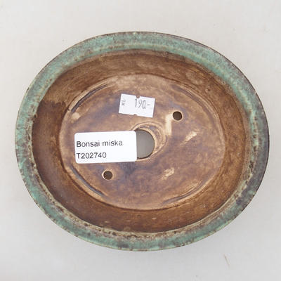 Ceramic bonsai bowl 14 x 12 x 3.5 cm, color green - 3