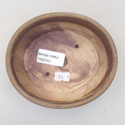 Ceramic bonsai bowl 14 x 12 x 3.5 cm, brown color - 3