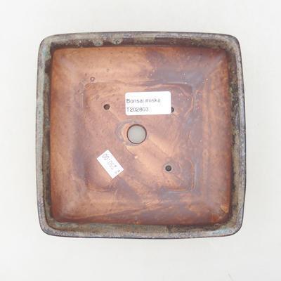 Ceramic bonsai bowl 15.5 x 15.5 x 5 cm, brown-blue color - 3