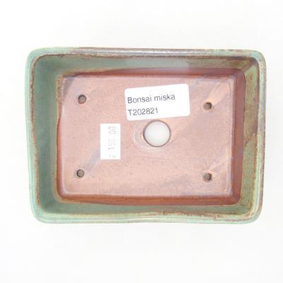 Ceramic bonsai bowl 12.5 x 9.5 x 3.5 cm, color brown-green - 3