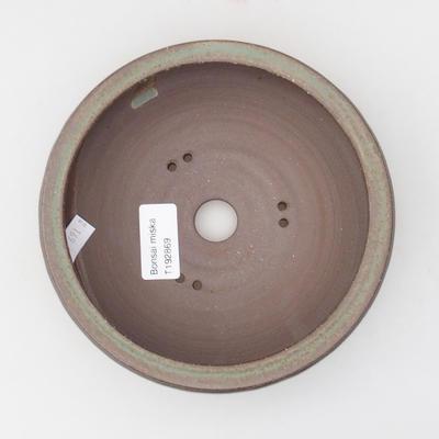 Ceramic bonsai bowl 16 x 16 x 4,5 cm, brown-green color - 3