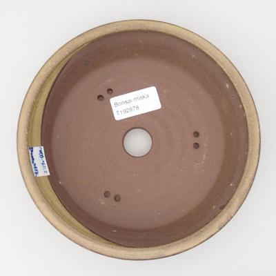Ceramic bonsai bowl 17,5 x 17,5 x 4,5 cm, yellow-brown color - 3