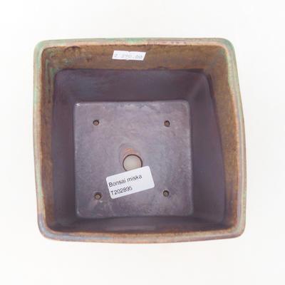 Ceramic bonsai bowl 13.5 x 13.5 x 13.5 cm, color brown-green - 3