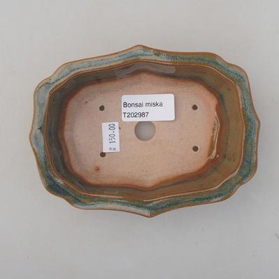 Ceramic bonsai bowl 14 x 10 x 4.5 cm, brown color - 3