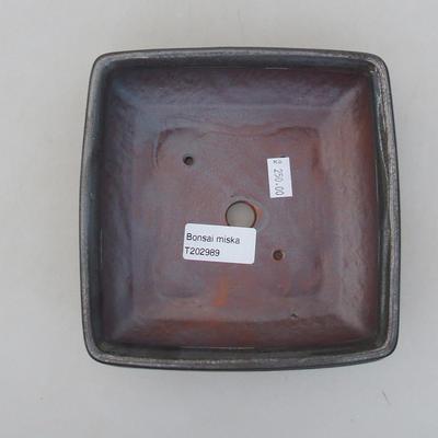 Ceramic bonsai bowl 15 x 15 x 5.5 cm, metal color - 3