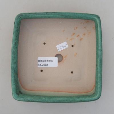 Ceramic bonsai bowl 15 x 15 x 5.5 cm, color green - 3