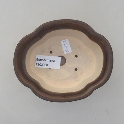 Ceramic bonsai bowl 13 x 11 x 5 cm, brown color - 3