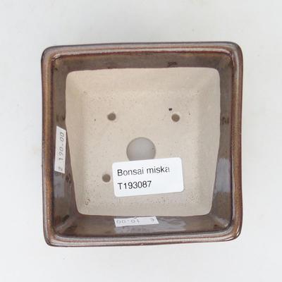 Ceramic bonsai bowl 9.5 x 9.5 x 5.5 cm, brown color - 3