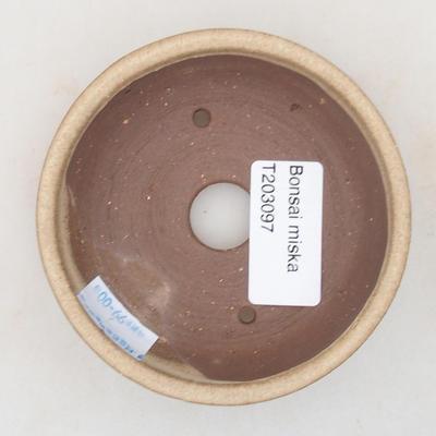 Ceramic bonsai bowl 9 x 9 x 3 cm, beige color - 3