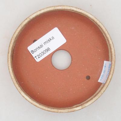 Ceramic bonsai bowl 10 x 10 x 2.5 cm, beige color - 3