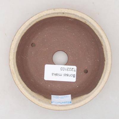 Ceramic bonsai bowl 8 x 8 x 3.5 cm, beige color - 3