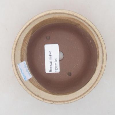 Ceramic bonsai bowl 11 x 11 x 4.5 cm, beige color - 3