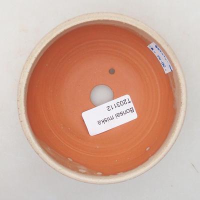 Ceramic bonsai bowl 10 x 10 x 5 cm, beige color - 3