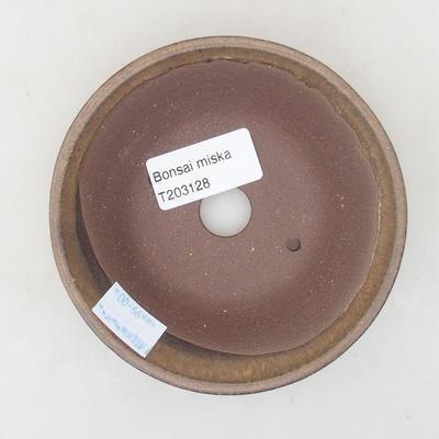 Ceramic bonsai bowl 11 x 11 x 3.5 cm, brown color - 3