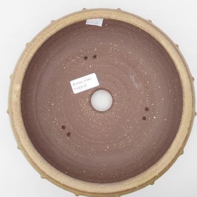 Ceramic bonsai bowl 22,5 x 22,5 x 7 cm, yellow-brown color - 3
