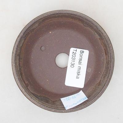 Ceramic bonsai bowl 9 x 9 x 2 cm, brown color - 3
