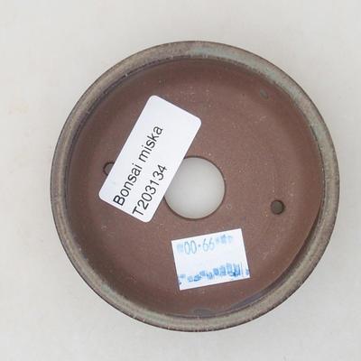 Ceramic bonsai bowl 8.5 x 8.5 x 2.5 cm, brown color - 3