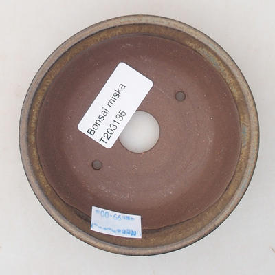 Ceramic bonsai bowl 10 x 10 x 3 cm, brown color - 3