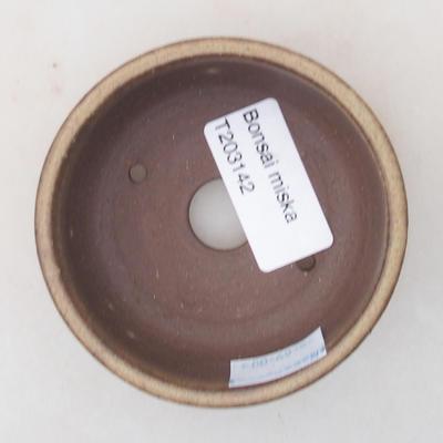 Ceramic bonsai bowl 7.5 x 7.5 x 2.5 cm, brown color - 3
