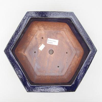 Ceramic bonsai bowl 28 x 25 x 8.5 cm, brown-blue color - 3