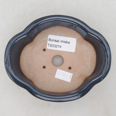 Ceramic bonsai bowl 13 x 10 x 4.5 cm, color blue - 3