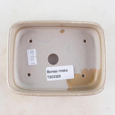 Ceramic bonsai bowl 13 x 9.5 x 3 cm, beige color - 3