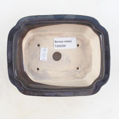 Ceramic bonsai bowl 16 x 12.5 x 4.5 cm, brown-blue color - 3