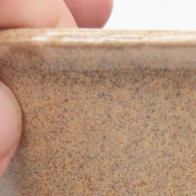 Ceramic bonsai bowl 11 x 11 x 7 cm, beige color - 3