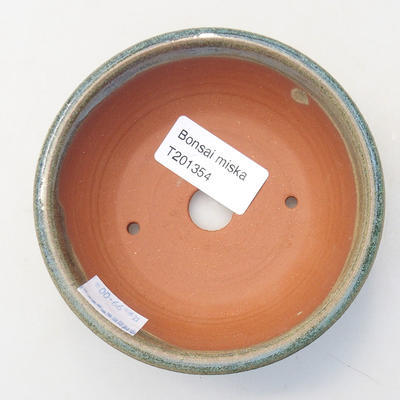 Ceramic bonsai bowl 10.5 x 10.5 x 3.5 cm, color green - 3