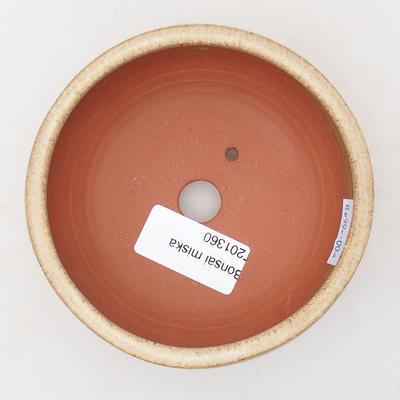 Ceramic bonsai bowl 10.5 x 10.5 x 4 cm, beige color - 3