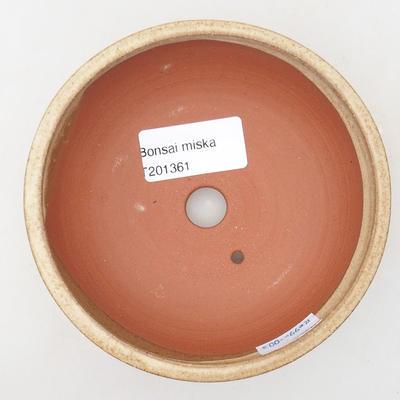 Ceramic bonsai bowl 11.5 x 11.5 x 4 cm, beige color - 3