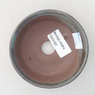 Ceramic bonsai bowl 10 x 10 x 2.5 cm, color green - 3
