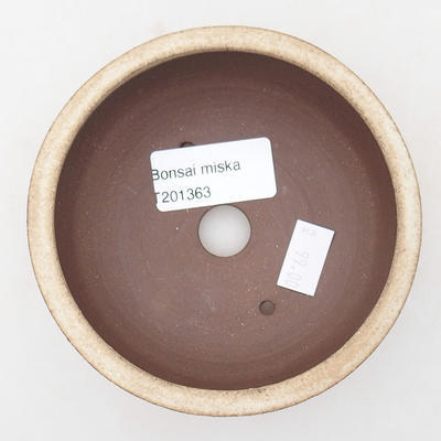 Ceramic bonsai bowl 10.5 x 10.5 x 4 cm, beige color - 3