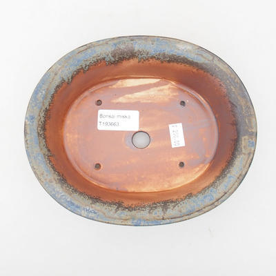 Ceramic bonsai bowl 19 x 15,5 x 6 cm, blue-gray color - 3